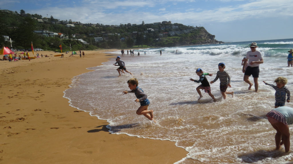 kids in the surf