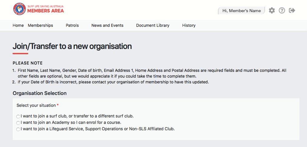 Transfer surf club membership